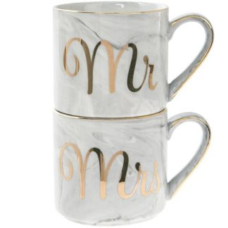 A pair of fine China Marble effect Stacking Mugs - Mr & Mrs