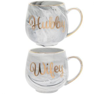 A pair of fine China Marble effect Mugs - Hubby & Wifey
