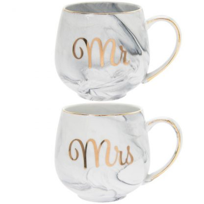 A pair of fine China Marble effect Mugs - Mr & Mrs