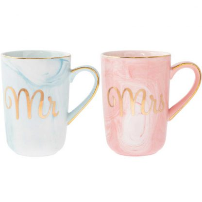 A pair of fine China Marble effect Coloured Mugs - Mr & Mrs lp42916