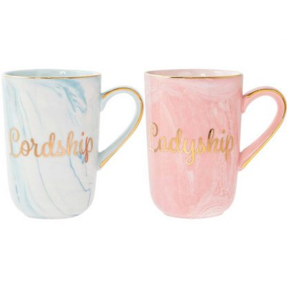 A pair of fine China Marble effect Coloured Mugs - Lord & Ladyship lp42918