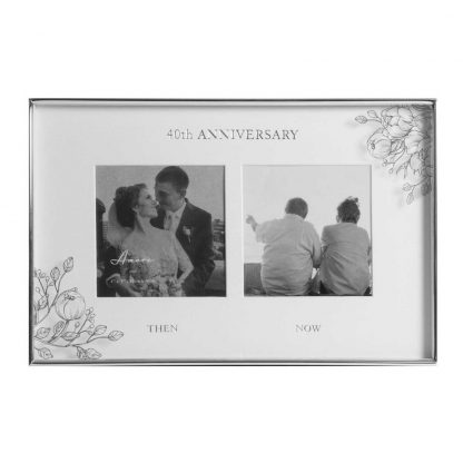 Silver Foil Floral Double 40th Anniversary Photo Frame wb107640
