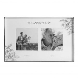 Silver Foil Floral Double 50th Anniversary Photo Frame wb107650
