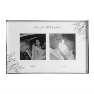 Silver Foil Floral Double 25th Anniversary Photo Frame wg107625
