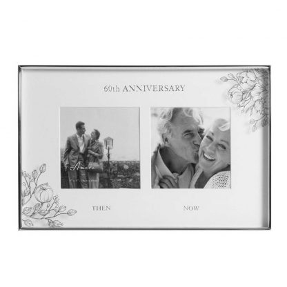 Silver Foil Floral Double 60th Anniversary Photo Frame wg107660