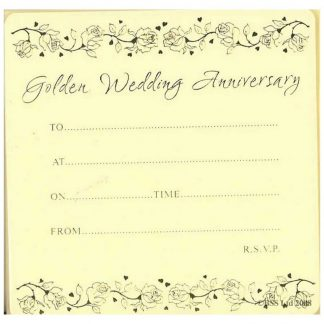 Golden 50th Anniversary Invitation Cards (Pack of 10) by Jean Barrington 215