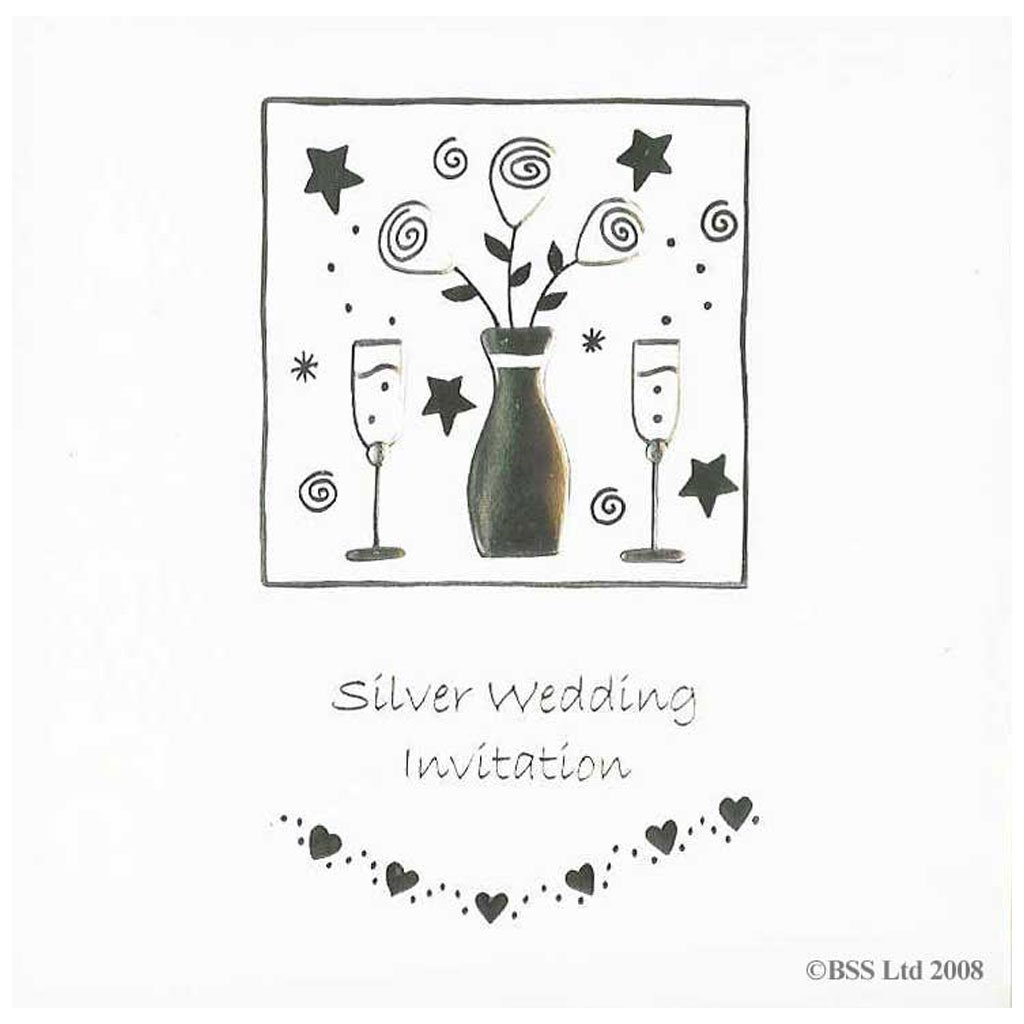 Silver Wedding 25th Anniversary Invitations Pack Of 5