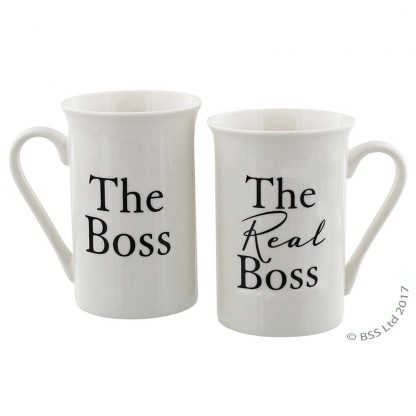A pair of fine China Mugs - The Boss and The Real Boss wg525