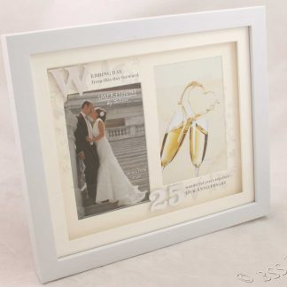 25th Wedding Anniversary White Photo Frame Then & Now wg61225