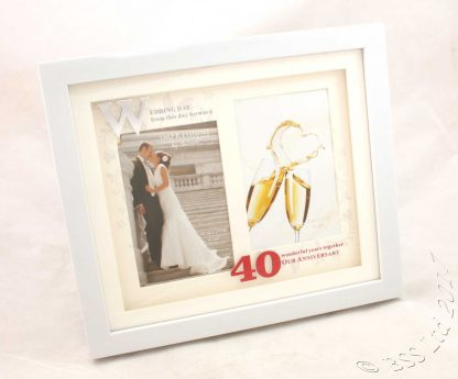 40th Wedding Anniversary White Photo Frame Then & Now wg61240