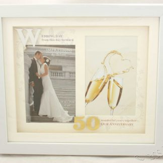 50th Wedding Anniversary White Photo Frame Then & Now wg61250