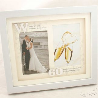 60th Wedding Anniversary White Photo Frame Then & Now wg61260