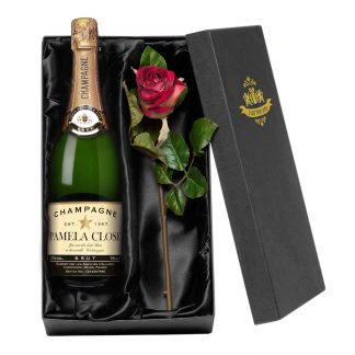 Personalised Champagne & Silk Rose Gift Set