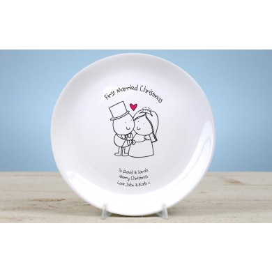 Personalised 1st Christmas married plate