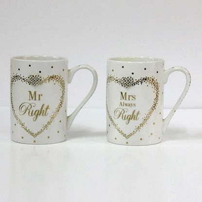 Mr & Mrs Right Mad Dots diamanté Mugs set of two