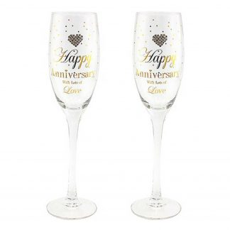 Happy Anniversary Champagne Flutes ~ Mad Dots Hearts Designs LP40694