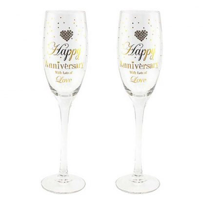 Happy Anniversary Champagne Flutes ~ Mad Dots Hearts Designs LP40694