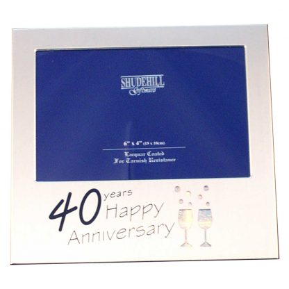 Satin Silver 40th Anniversary 6 x 4 Frame by Shudehill giftware