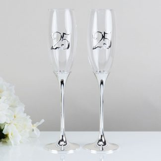 Celebrations 25th Wedding Anniversary Champagne Flutes Gift Set