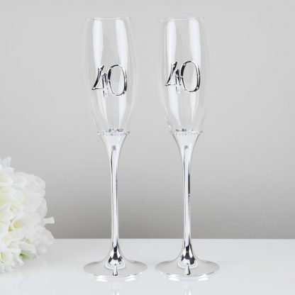 Celebrations 40th Wedding Anniversary Champagne Flutes Gift Set