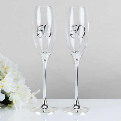 Celebrations 50th Wedding Anniversary Champagne Flutes Gift Set