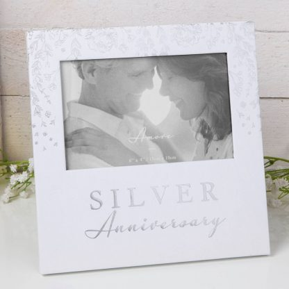 """AM11525 6"""" x 4"""" - Amore Paperwrap Photo Frame - Silver Anniversary"""