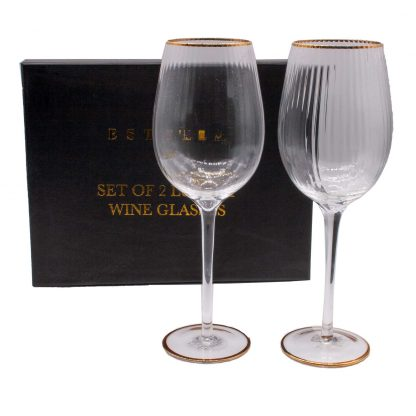 Gold Rimmed Wine Goblets - Estella from the Sophia Collection