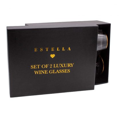Gold Rimmed Wine Goblets - Estella from the Sophia Collection gift box