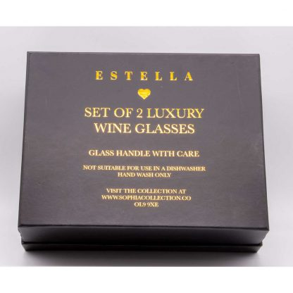 Gold Rimmed Wine Goblets - Estella from the Sophia Collection giftbox rear
