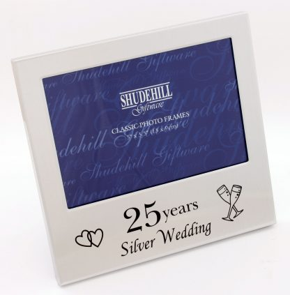 "Satin Silver 25th Wedding Anniversary 5"" x 3½"" photograph frame"