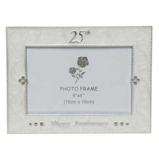Silver and Cream 25th Anniversary Photo Frame