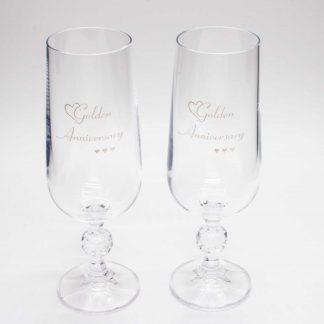 Golden Anniversary Crystal Champagne Flutes