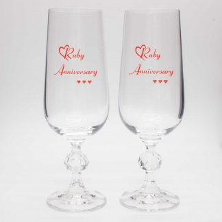 Ruby Anniversary Crystal Champagne Flutes