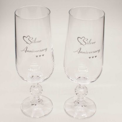 Silver Anniversary Crystal Champagne Flutes detail