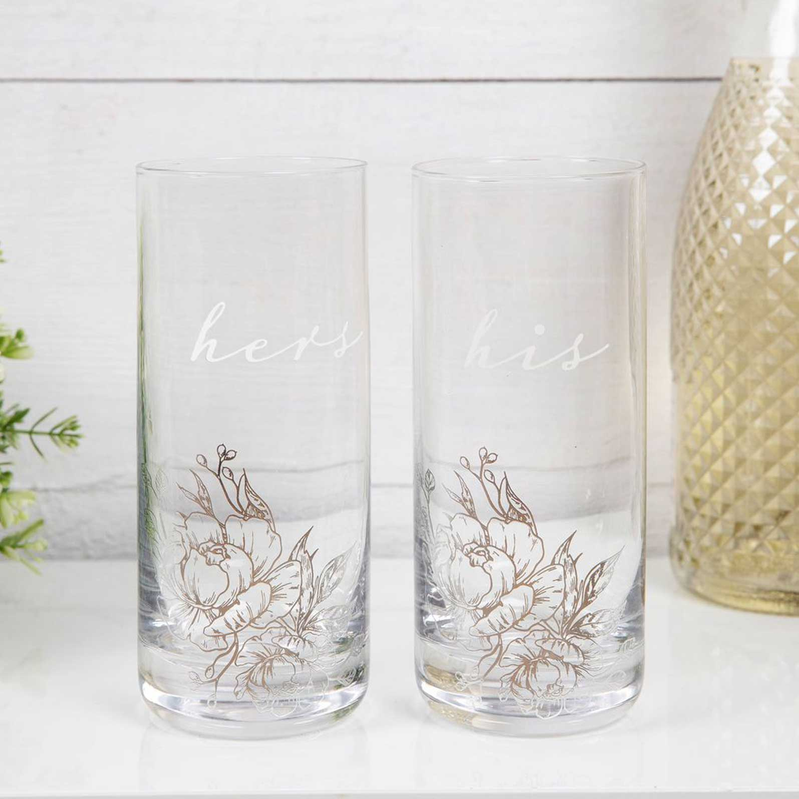 AMORE BY JULIANA LUXURY HIGHBALL GLASS SET - HIS & HERS AM157