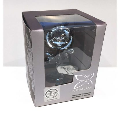 15th Anniversary Crystal Rose Chrome Ornament by Crystocraft Boxed