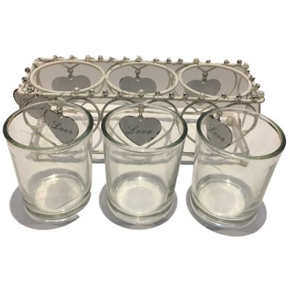 Celebrations Love Story Collection - set of 3 tealight holders in wire cage with holders out