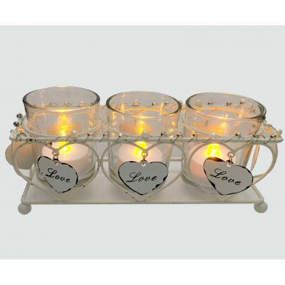 Celebrations Love Story Collection - set of 3 tealight holders in wire cage lit