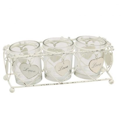 Celebrations Love Story Collection - set of 3 tealight holders in wire cage.