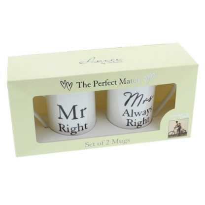 Mr Right, Mrs Always Right Mugs Gift Box