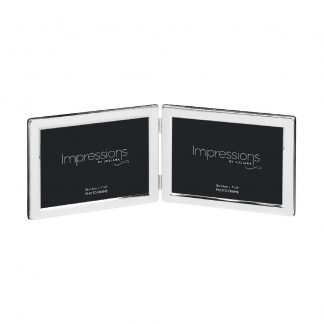 "Impressions Silver plated Double 5"" x 7"" Landscape Photo Frame. 3498L"
