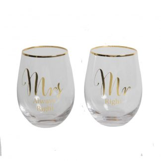Mr Right & Mrs Always Right Stemless wine glasses G360