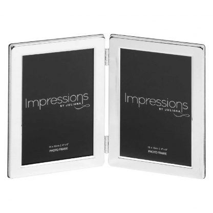"""Impressions Silver plated Double 6"""" x 4"""" Photo Frame."""
