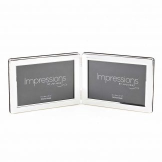 "Impressions Silver plated Double 6"" x 4"" Landscape Photo Frame."