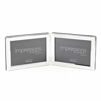 """Impressions Silver plated Double 6"""" x 4"""" Landscape Photo Frame."""