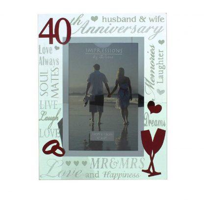 "Ruby Wedding 40th Anniversary 6"" x 4"" Script Photo Frame"