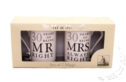 30th Anniversary Gift Set Two China Mugs Mr Right and Mrs Always Right Boxed