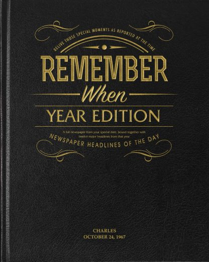Your Year Edition Newspaper Book - Newspaper Year Book - Leather Black Cover
