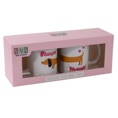 Now or Never - Sausage Dog Romantic Mugs Gift Set boxed