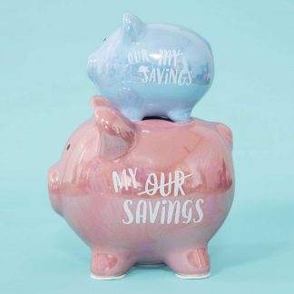 Celebrations Gifts Pennies and Dreams My/Our Savings Double China Piggy Bank.
